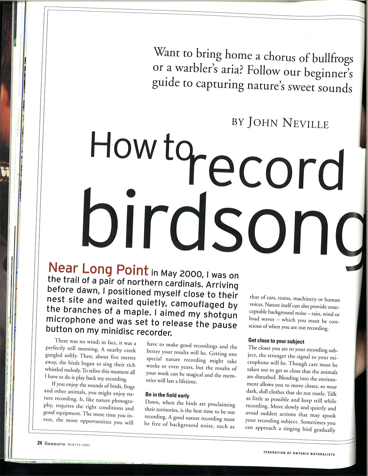How to record birdsong