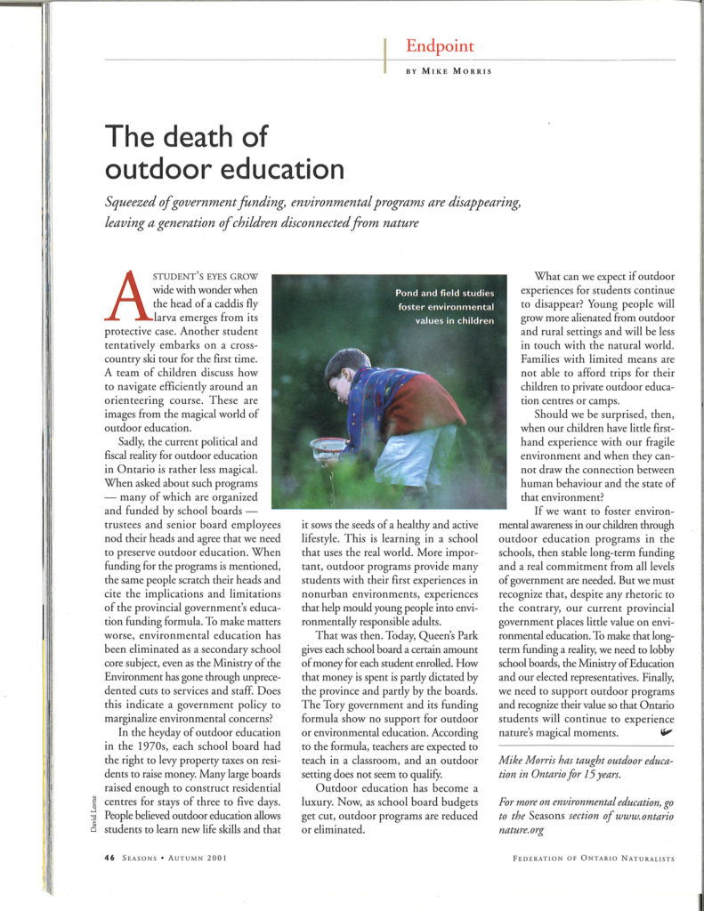 The death of outdoor education Seasons Fall 2001