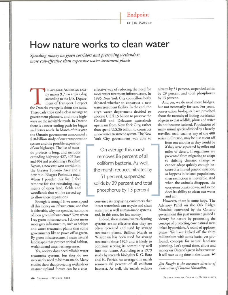 Seasons Winter 2001 how nature cleans water
