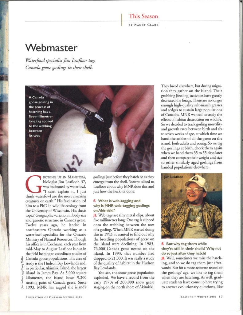 Seasons Winter 2001 Webmaster