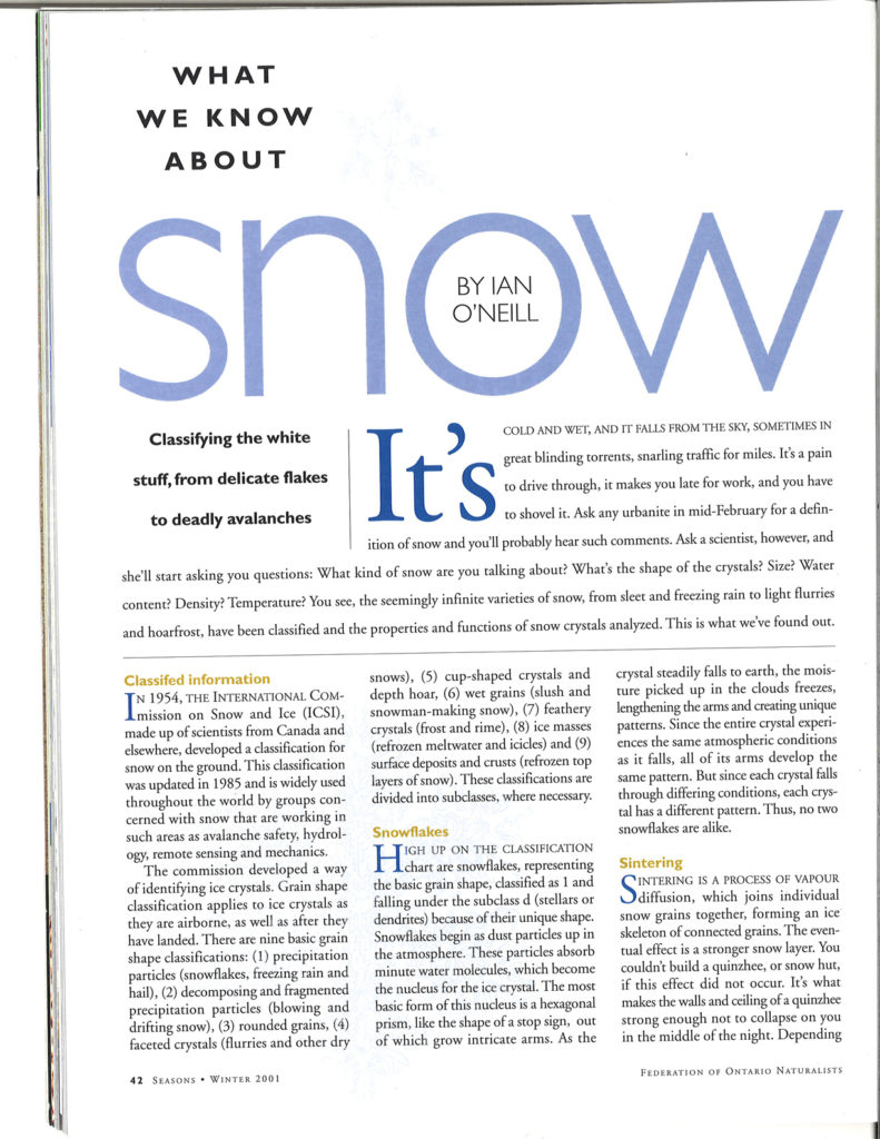 Seasons Winter 2001 What we know about snow