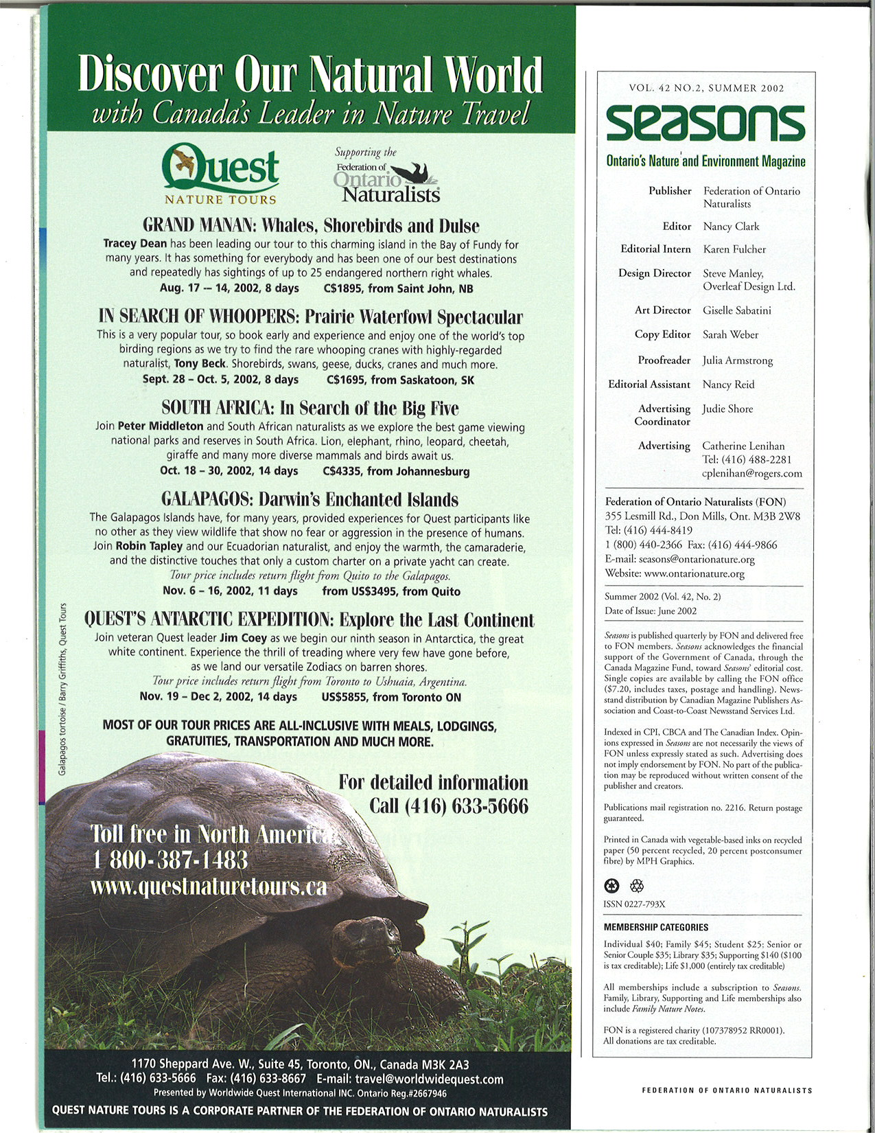 Seasons Summer 2002 Masthead