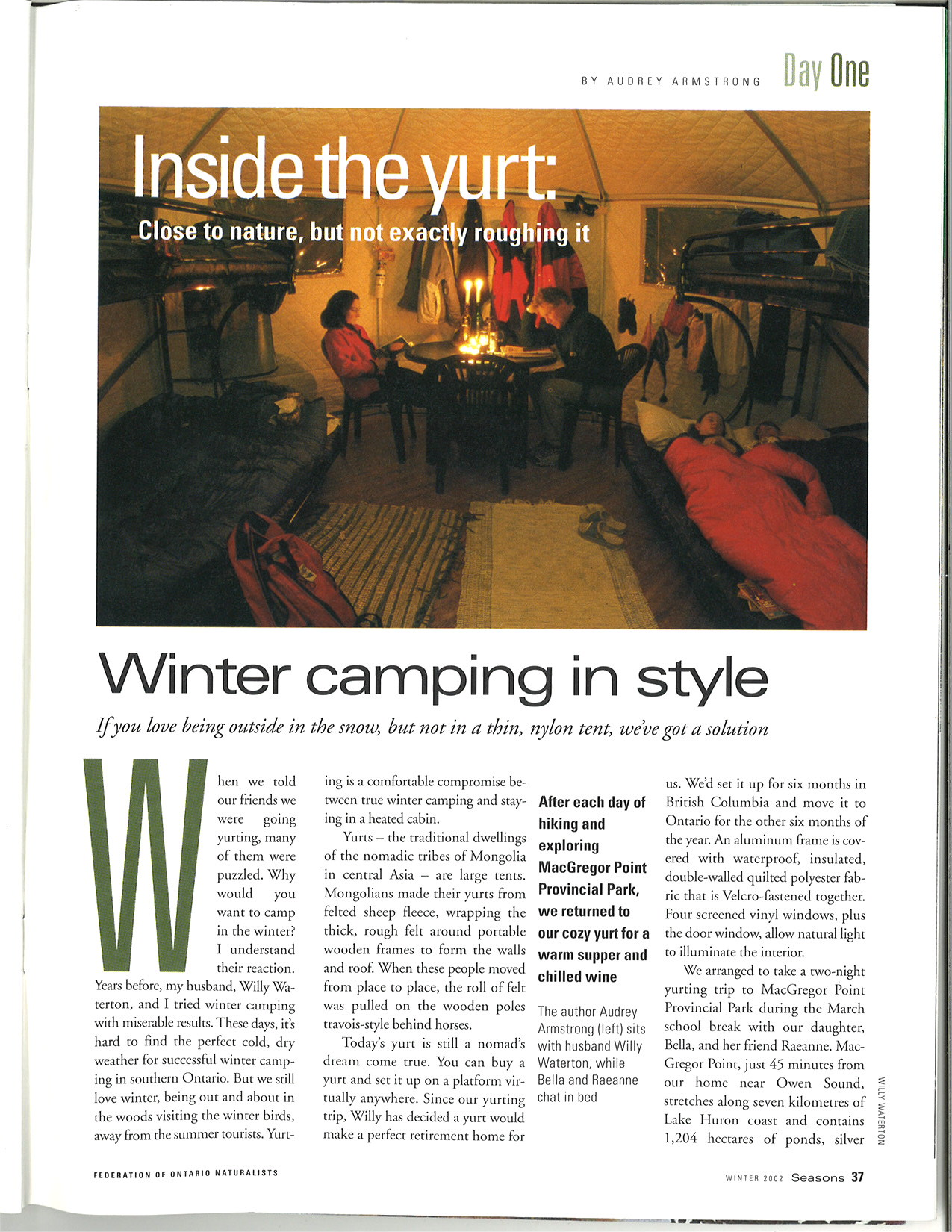 Day One: Inside the yurt