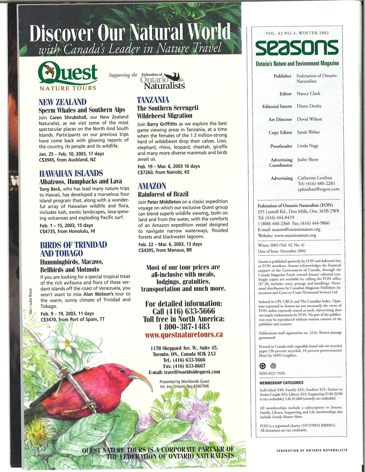 Seasons Winter 2002 Masthead
