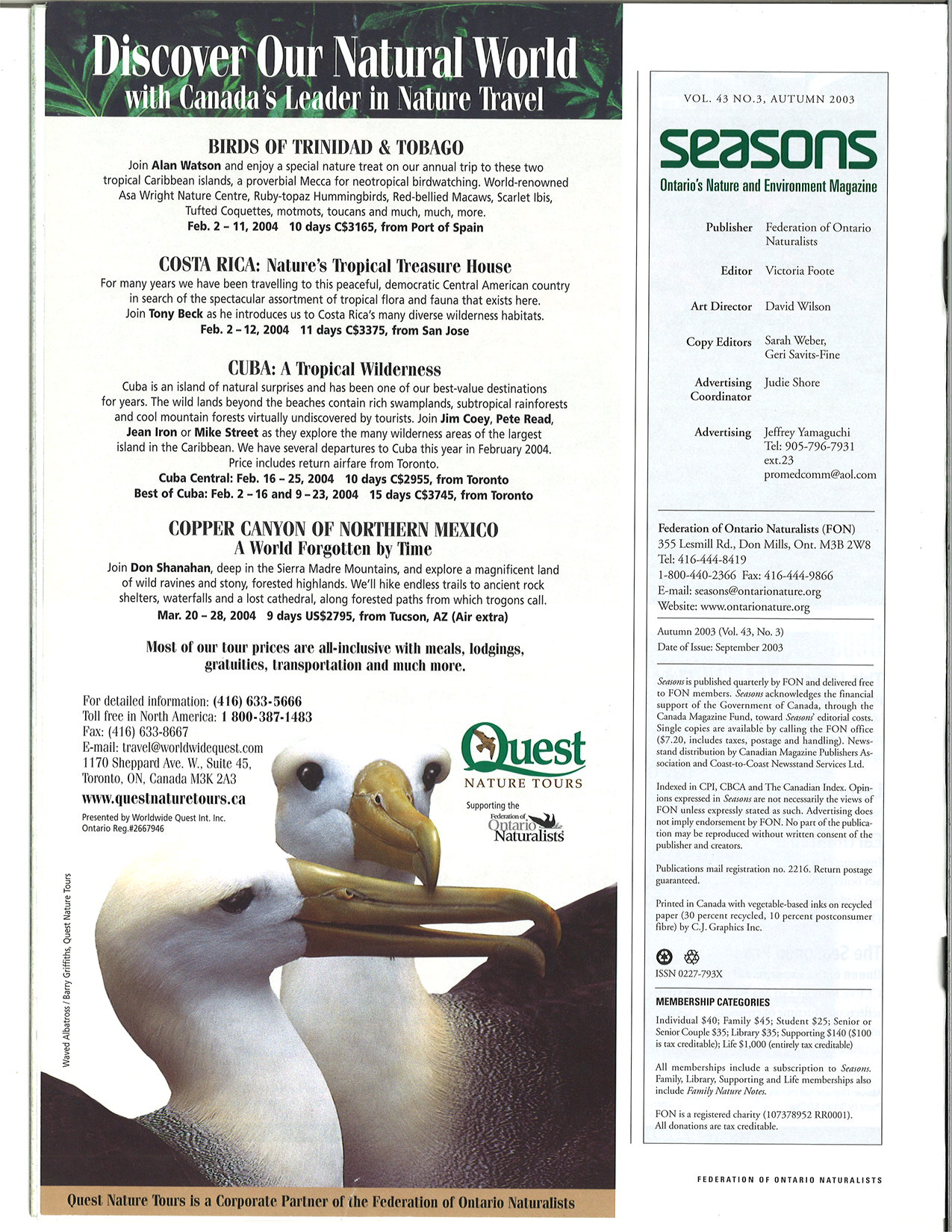 Seasons Fall 2003 Masthead