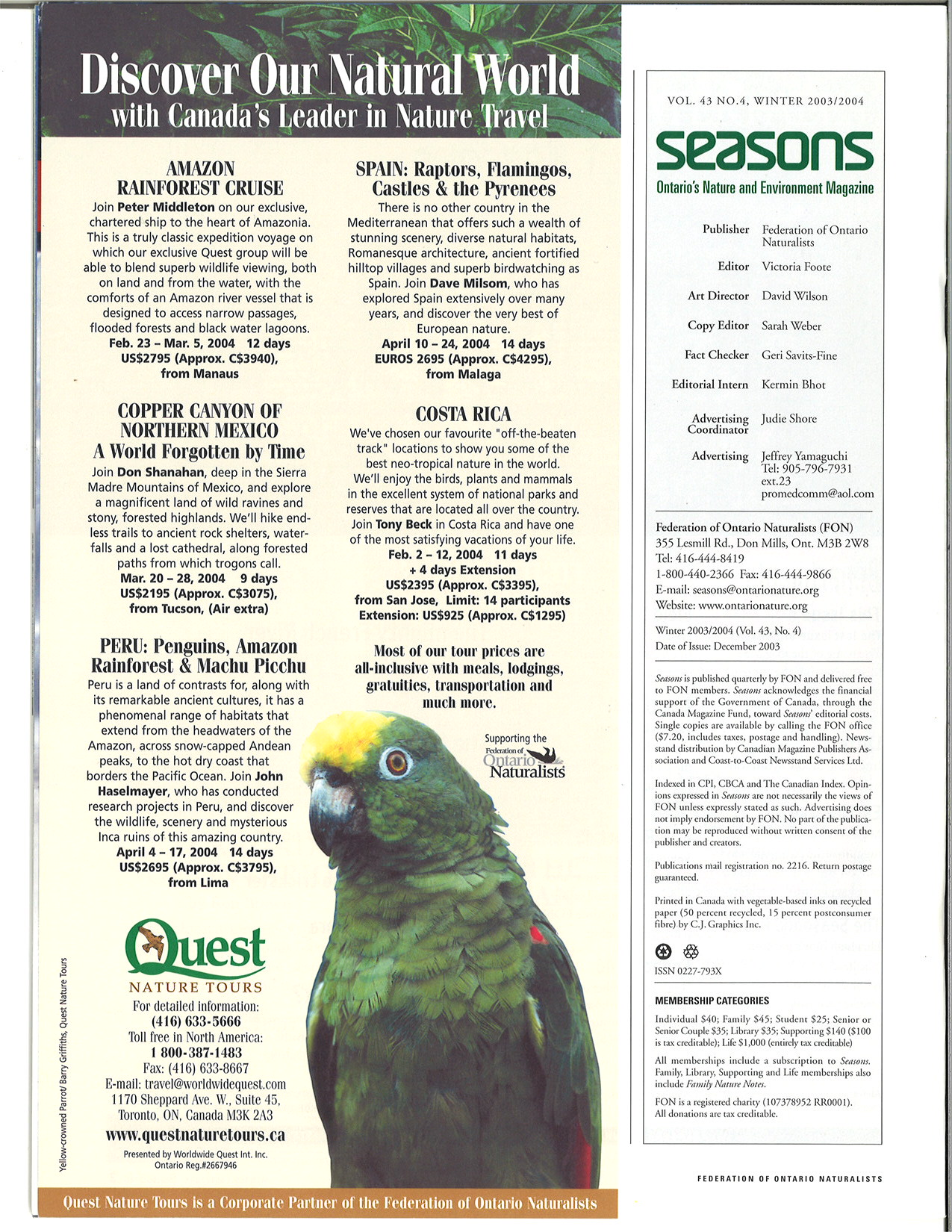 Seasons Winter 2003 Masthead