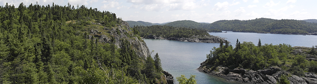 Pukaskwa National Park panoramic forest shoreline and water rugged coastline