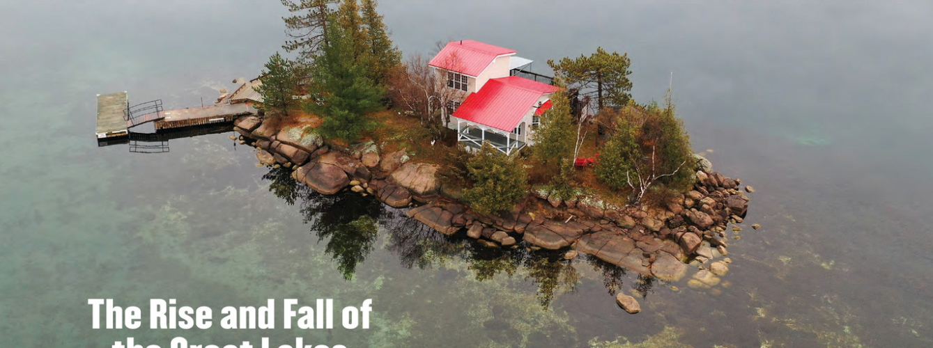 small island, cottage, water levels