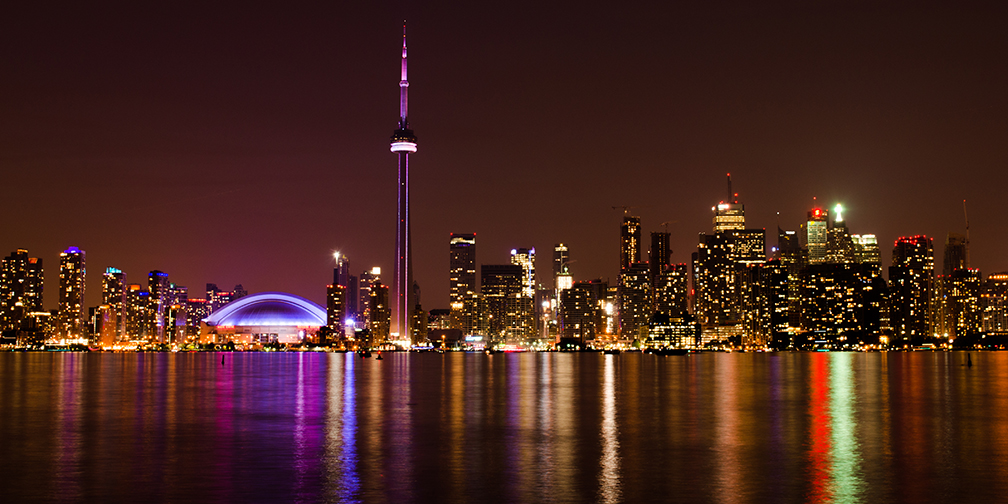 Toronto skyline and light pollution