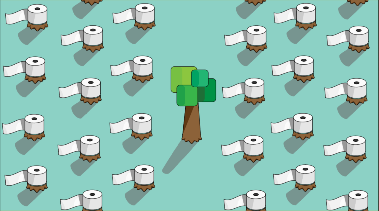 Procter and Gamble Ontario forests/toilet paper Action Alert graphic, tree stumps with toilet paper rolls on top, a healthy forest stripped bare to be used as toilet paper